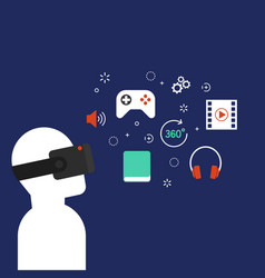 virtual reality technology concept flat design vector image