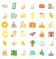 wealth icons set cartoon style vector image