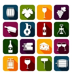 Wine icons set flat vector image