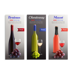 Wine realistic vertical banners vector