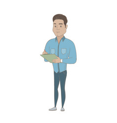 Young hispanic businessman writing on clipboard vector