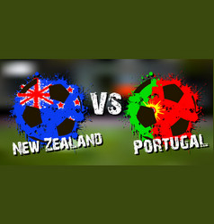 banner football match new zealand vs portugal vector image