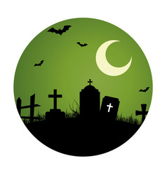 circular landscape of cemetery in halloween night vector image