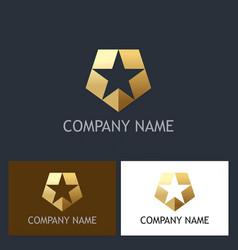gold star shield company logo vector image
