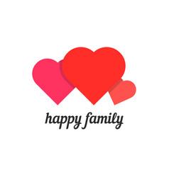 happy family with three hearts vector image