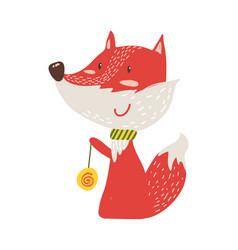 happy red fox with yo-yo icon vector image