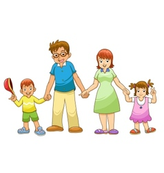 My family holding hands cartoon vector image