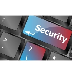 security button on the keyboard key business vector image vector image