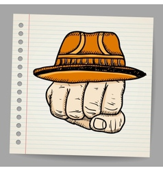 Doodle fist with hat vector image vector image