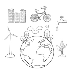 Environment green energy and ecology sketches vector image vector image