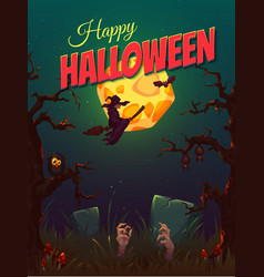 Halloween party poster with witch and moon vector image