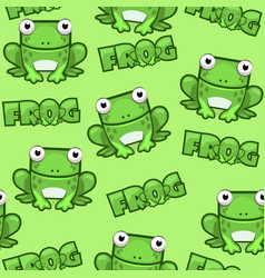 seamless pattern cute cartoon square frog on green vector image vector image