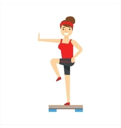 Woman In Aerobics Class Member Of The Fitness vector image vector image