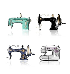 Collection of retro sewing machine sketch for your vector