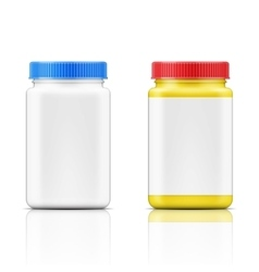 Colored square plastic bottle for pills vector image vector image