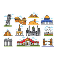 famous world amazing architectural landmarks vector image vector image