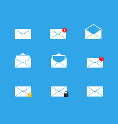 mailbox icons set vector image vector image