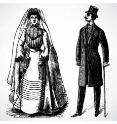 Retro bride and groom vector