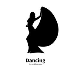 Silhouette dancing girl Dancer Bollywood dance vector image vector image