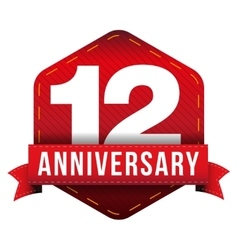 Twelve year anniversary badge with red ribbon vector image vector image