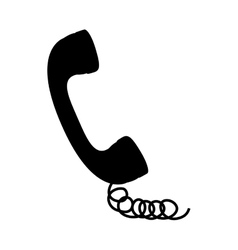 black silhouette handset with cord vector image