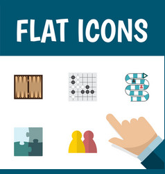 flat icon games set of jigsaw gomoku people and vector image vector image