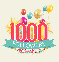 1000 followers thank you background for social vector