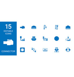 15 connector icons vector image