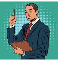 African business man indicating an important vector image