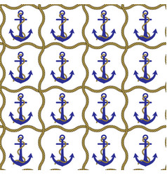 Anchor and rope seamless pattern vector