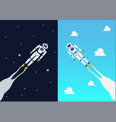 Android robots flying on day and night sky vector
