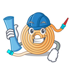 Architect garden water hose cartoon vector