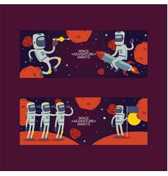 astronaut cosmonaut cartoon spaceman character in vector image