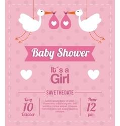 Baby Shower design stork icon pink vector