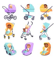 Baby strollers cute multiethnic children vector