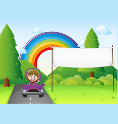 Banner template with girl driving car vector