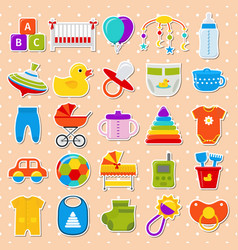 Bashower stickers set icons vector