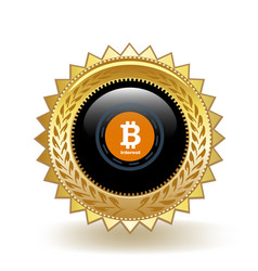 bitcoin interest cryptocurrency coin gold badge vector image