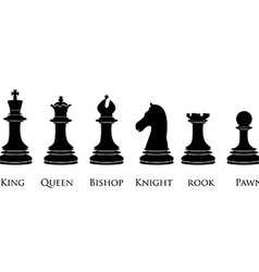 Black chess pieces with names vector image