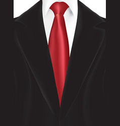 Black suit with red tie vector