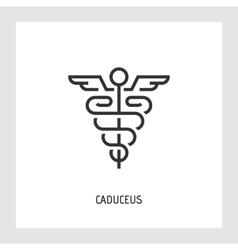Caduceus icon Thin line sign vector
