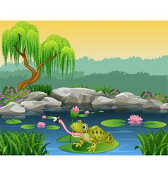 Cartoon frog catching fly on the lily water vector