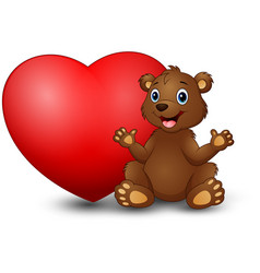 cartoon funny bear sitting with a big heart vector image