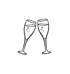 Champagne glasses hand drawn sketch icon vector