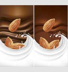 Chocolate background with milk splash and almond vector