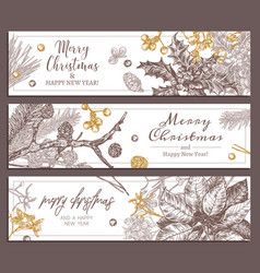 christmas holiday floral horizontal banners vector image