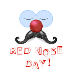 clown red nose day with mustache vector image