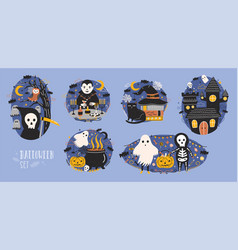Collection of halloween scenes with cute and funny vector