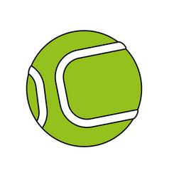 Color silhouette cartoon green tennis ball on vector