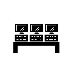 control system icon black vector image